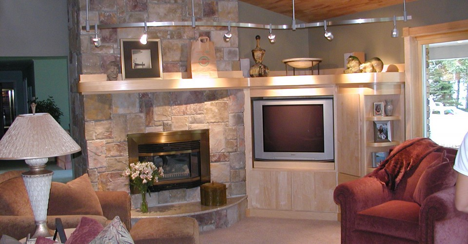 Fireplace Mantle - Maple Curved Shelves