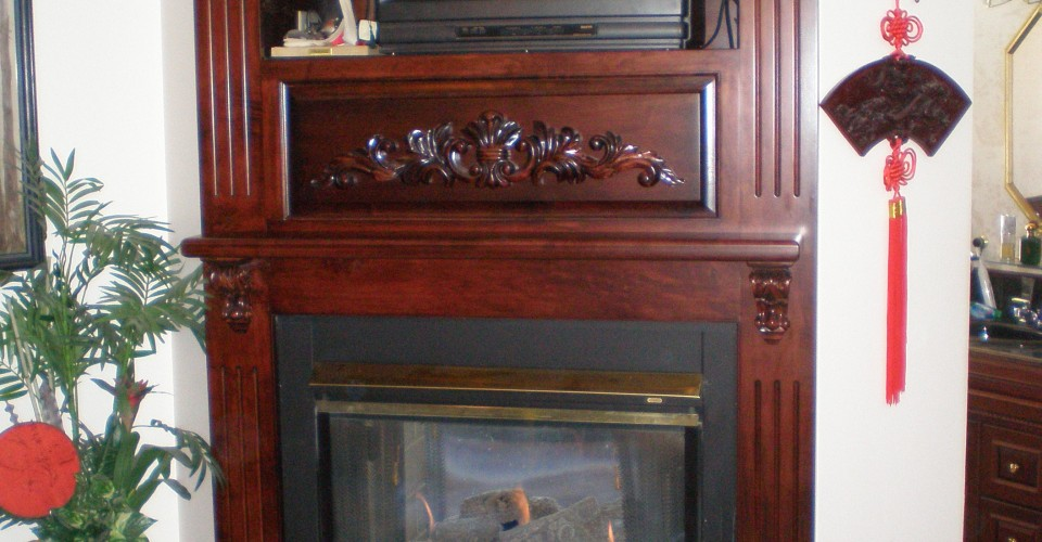Fireplace Mantle - Maple Stained Burgundy