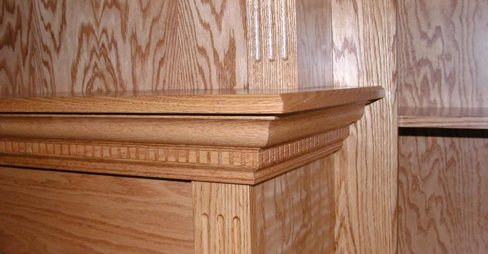 Fireplace Mantle - Oak Trim