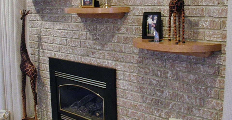 Fireplace Mantle - Oak Shelves